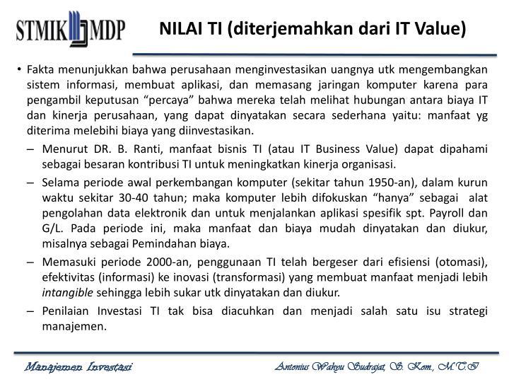 NILAI TI (diterjemahkan dari IT Value)