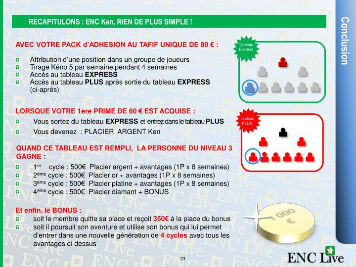 RECAPITULONS : ENC Ken, RIEN DE PLUS SIMPLE !