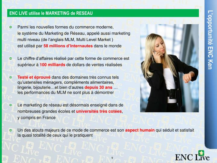 ENC LIVE utilise le MARKETING de RESEAU
