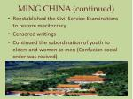ming china continued