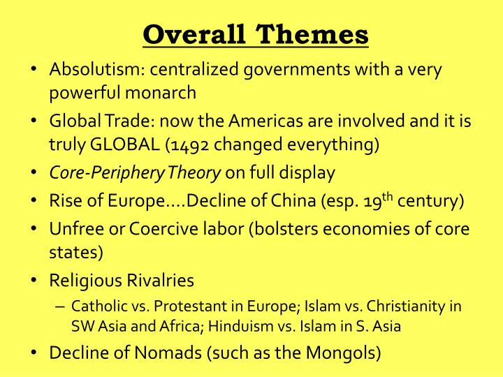 Overall themes
