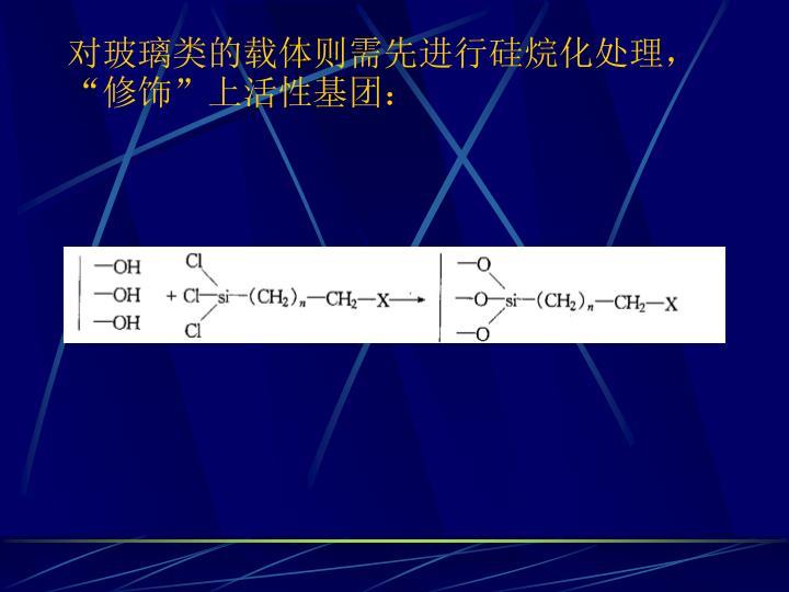 对玻璃类的载体则需先进行硅烷化处理,