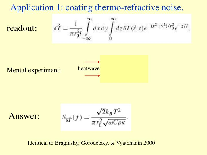 Application 1: coating thermo-refractive noise.