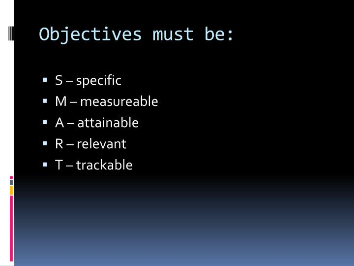 Objectives must be: