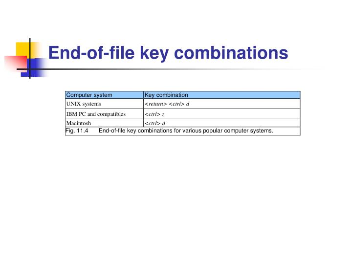End-of-file key combinations