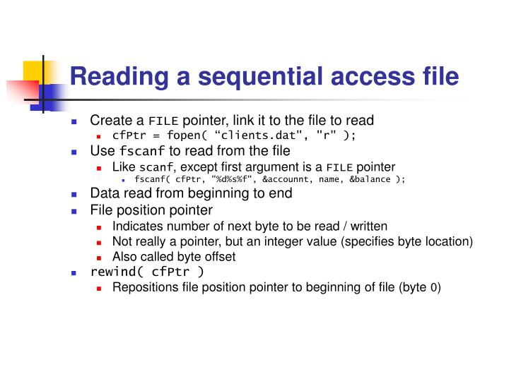 Reading a sequential access file