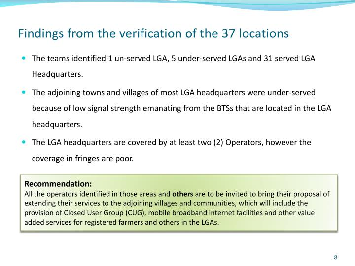 Findings from the verification of the 37 locations