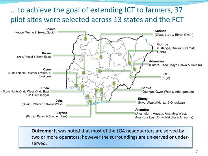 … to achieve the goal of extending ICT to farmers, 37 pilot sites were selected across 13 states and the FCT
