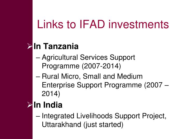 Links to IFAD investments