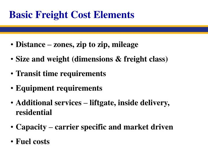 Basic Freight Cost Elements