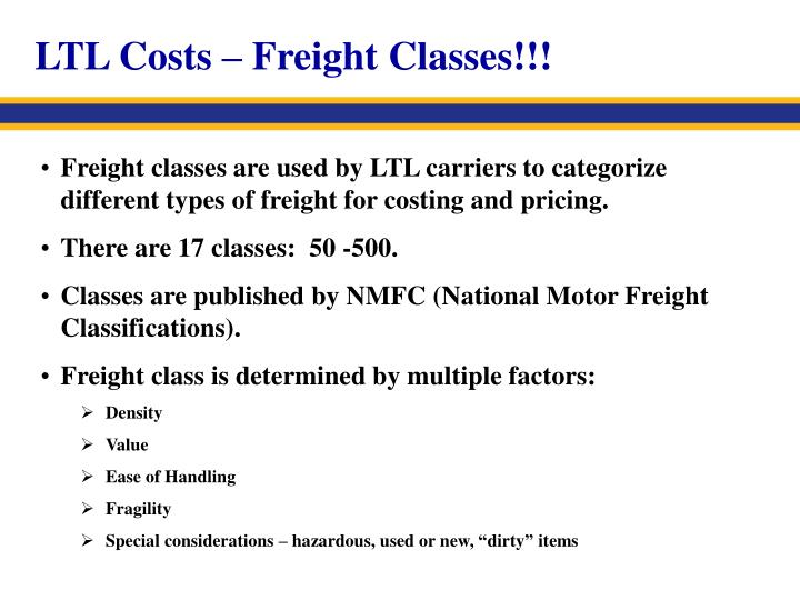 LTL Costs – Freight Classes!!!