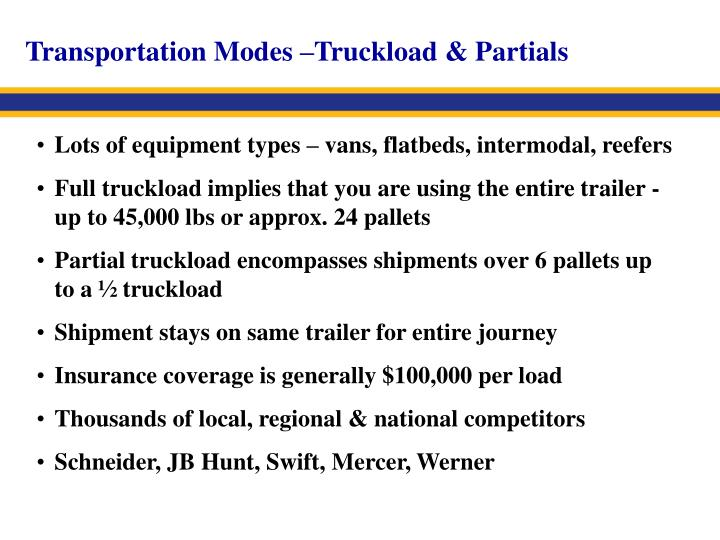 Transportation Modes –Truckload & Partials