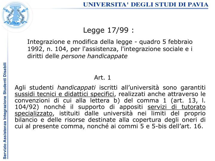 Legge 17/99 :
