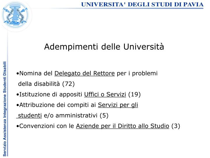 Adempimenti delle Università