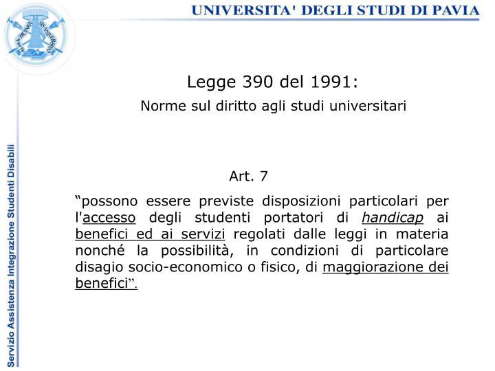 Legge 390 del 1991: