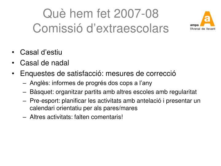 Què hem fet 2007-08