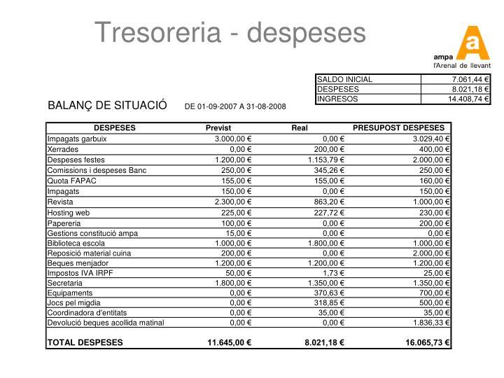 Tresoreria - despeses