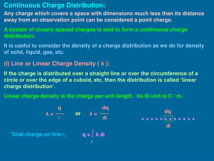 Continuous Charge Distribution: