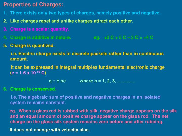 Properties of Charges: