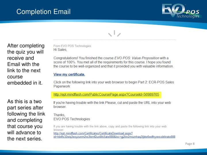 Completion Email