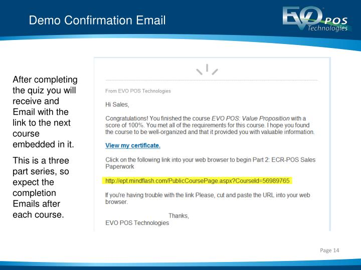 Demo Confirmation Email