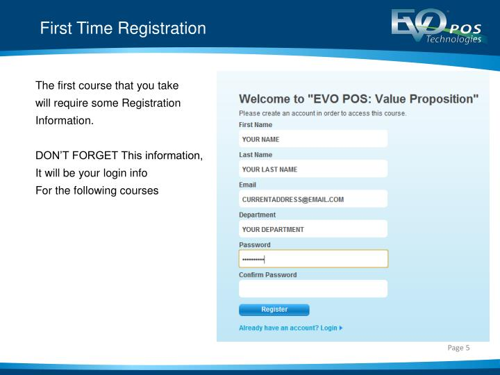 First Time Registration