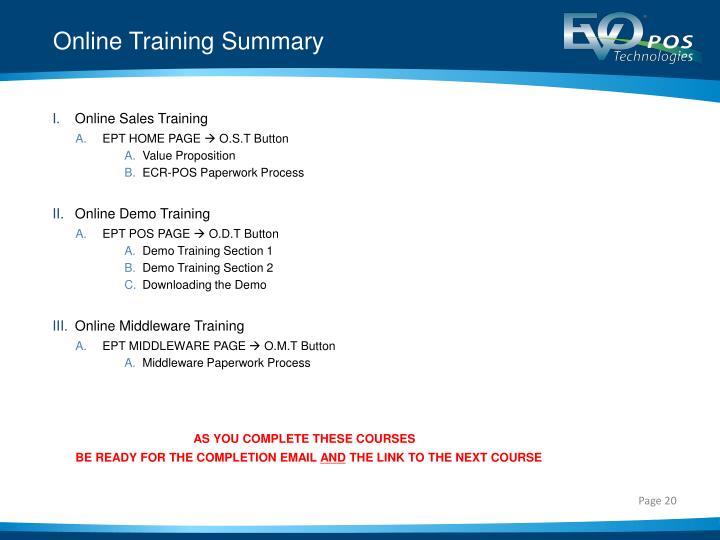 Online Training Summary