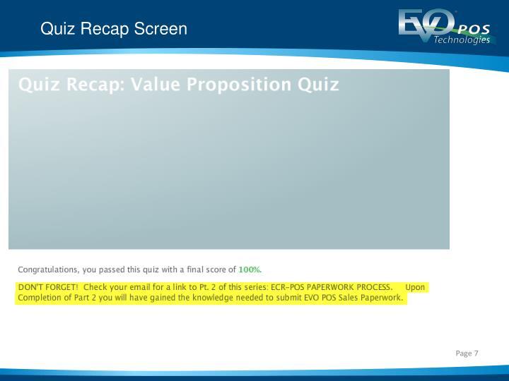 Quiz Recap Screen
