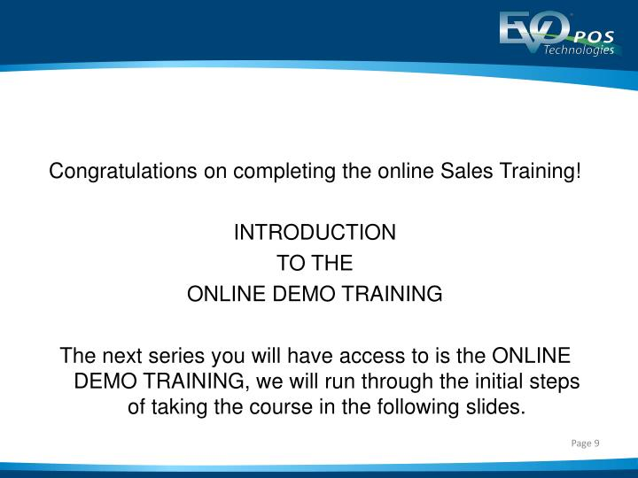 Congratulations on completing the online Sales Training!