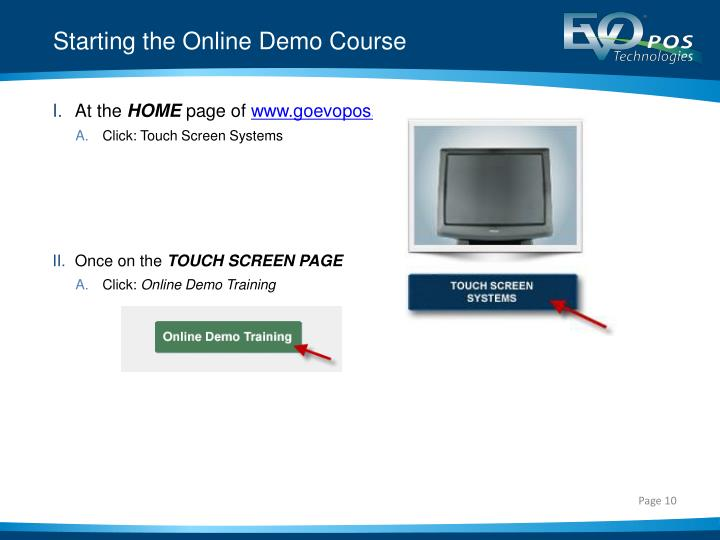 Starting the Online Demo Course