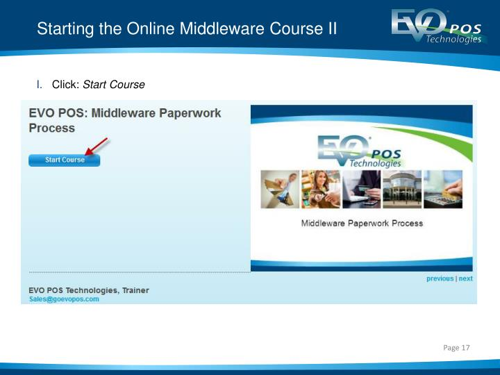 Starting the Online Middleware Course II