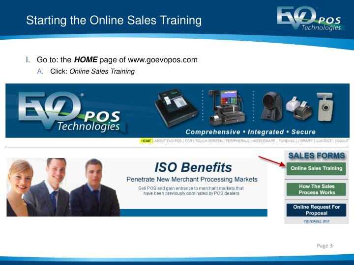 Starting the online sales training