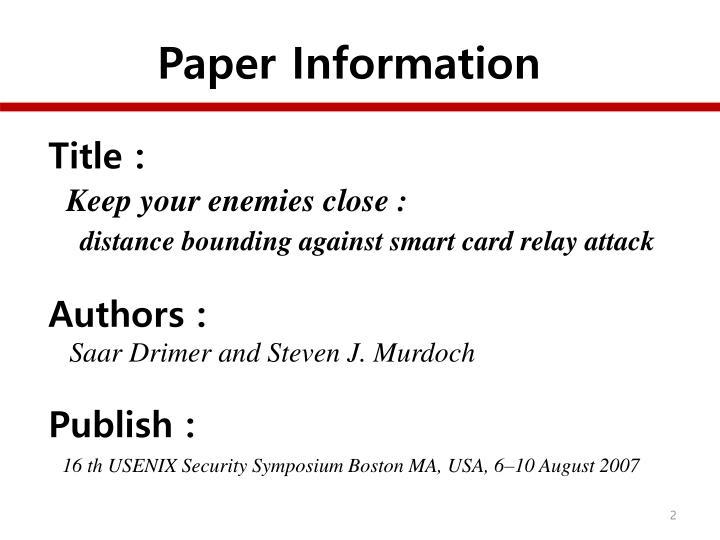 Paper Information