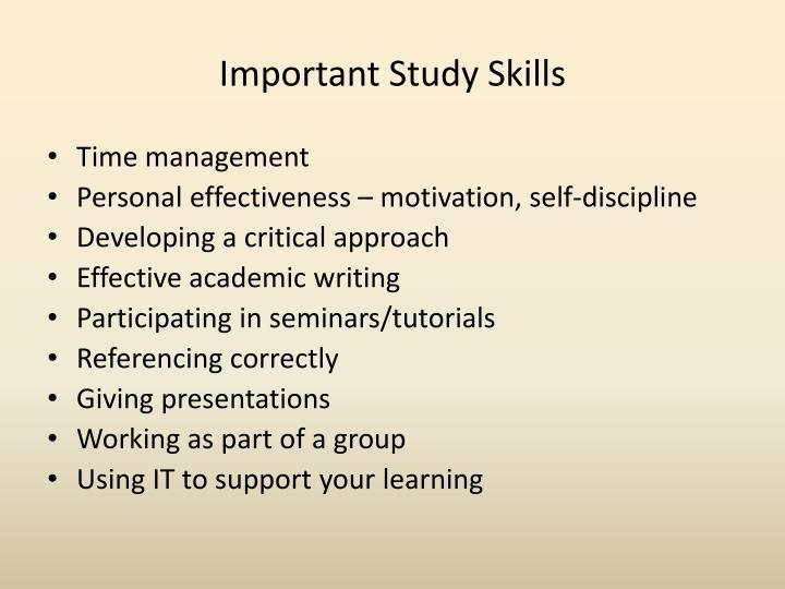 Important Study Skills