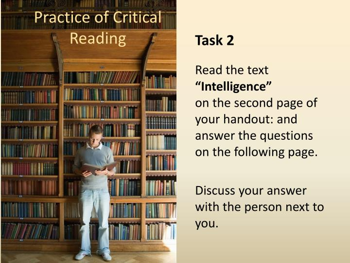 Practice of Critical Reading