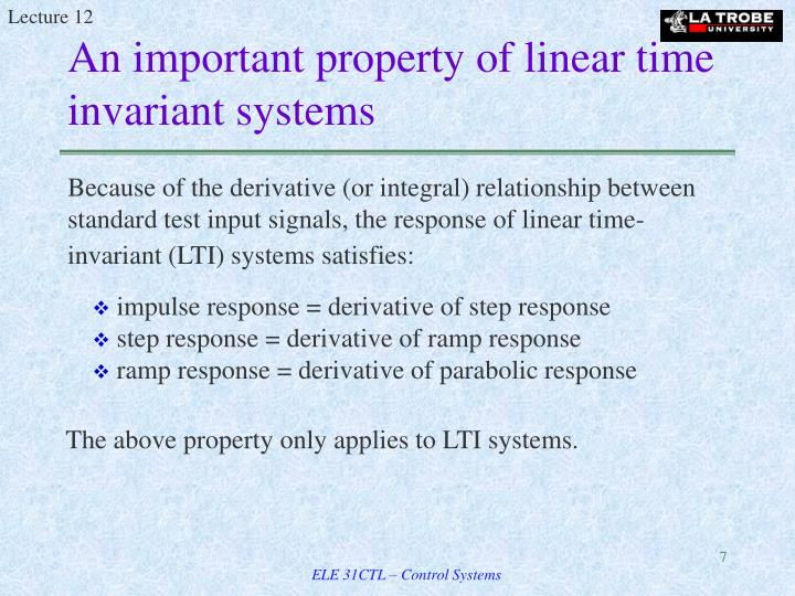 An important property of linear time invariant systems