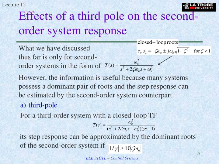 Effects of a third pole on the second-order system response