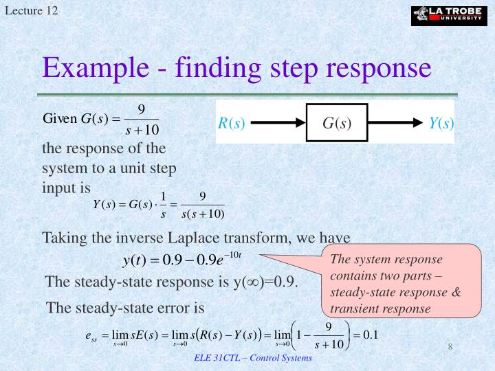 Example - finding step response