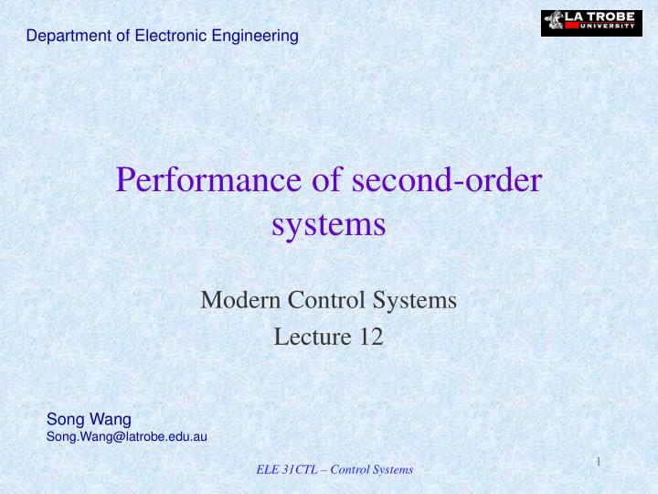 performance of second order systems