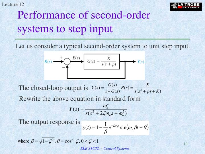 Performance of second-order systems to step input