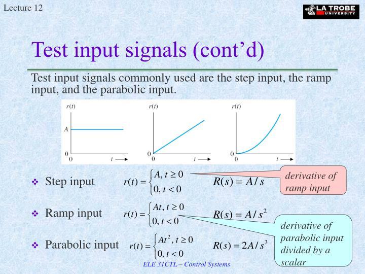 Test input signals (cont'd)