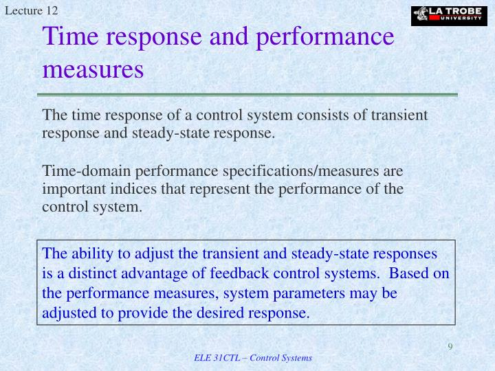 Time response and performance measures