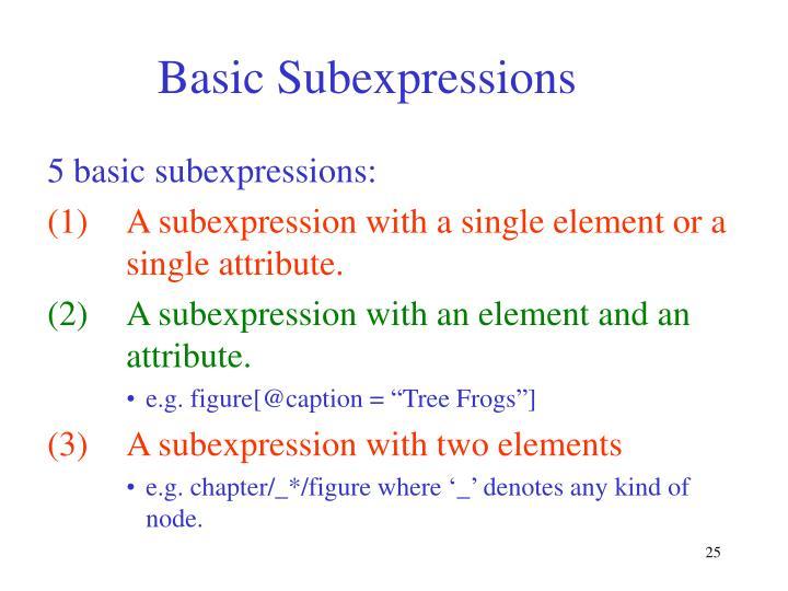 Basic Subexpressions