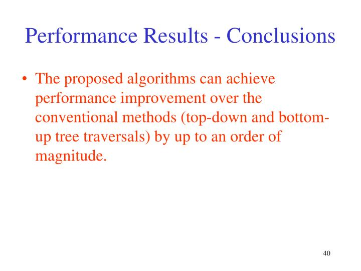 Performance Results - Conclusions
