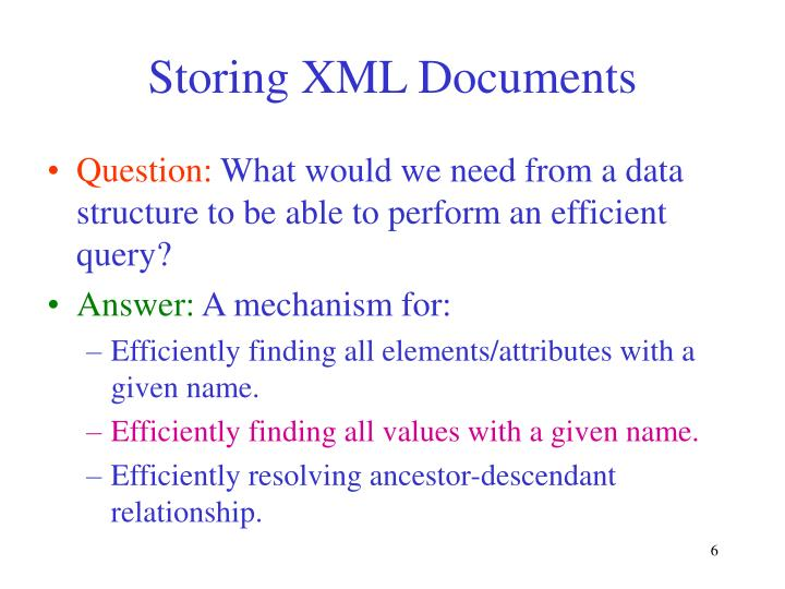 Storing XML Documents