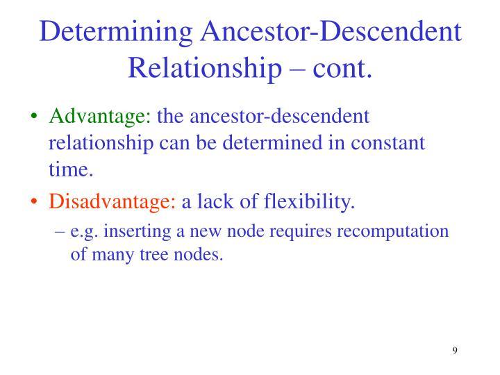 Determining Ancestor-Descendent Relationship – cont.
