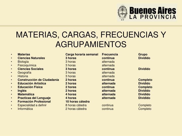 MATERIAS, CARGAS, FRECUENCIAS Y AGRUPAMIENTOS