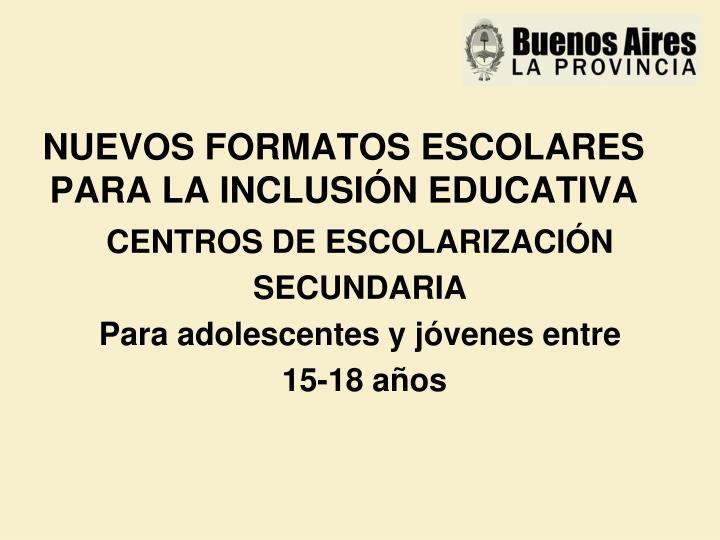 NUEVOS FORMATOS ESCOLARES PARA LA INCLUSIÓN EDUCATIVA