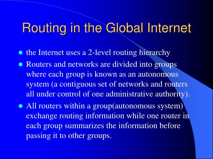 Routing in the Global Internet