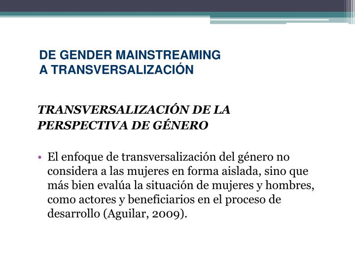 DE GENDER MAINSTREAMING